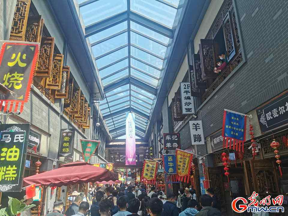 Too much to eat and enjoy at Kuanzhai Alley Food Street in Urumqi of Xinjiang