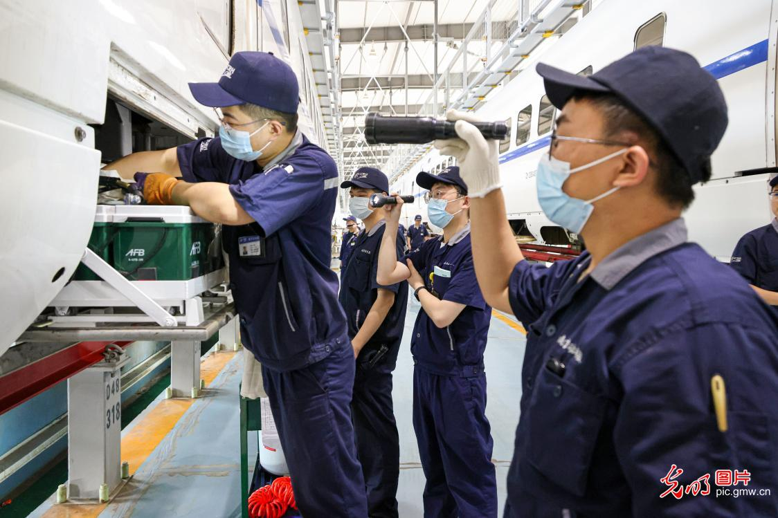 Train maintenance carried out to ensure railway safety