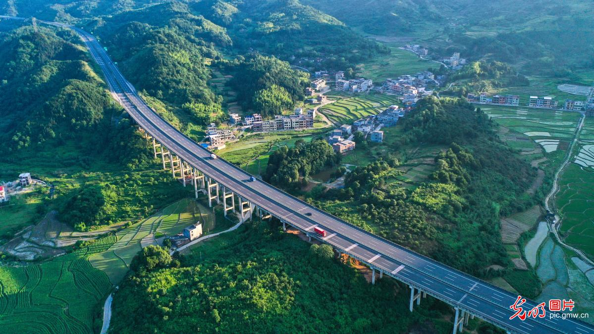 Aerial view of village in Changning, C China's Hunan