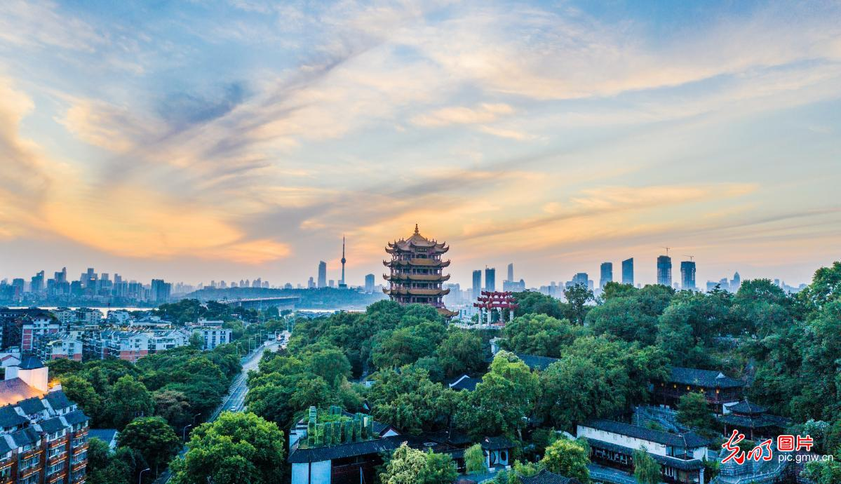 View of Yellow Crane Tower in Wuhan, C China's Wuhan