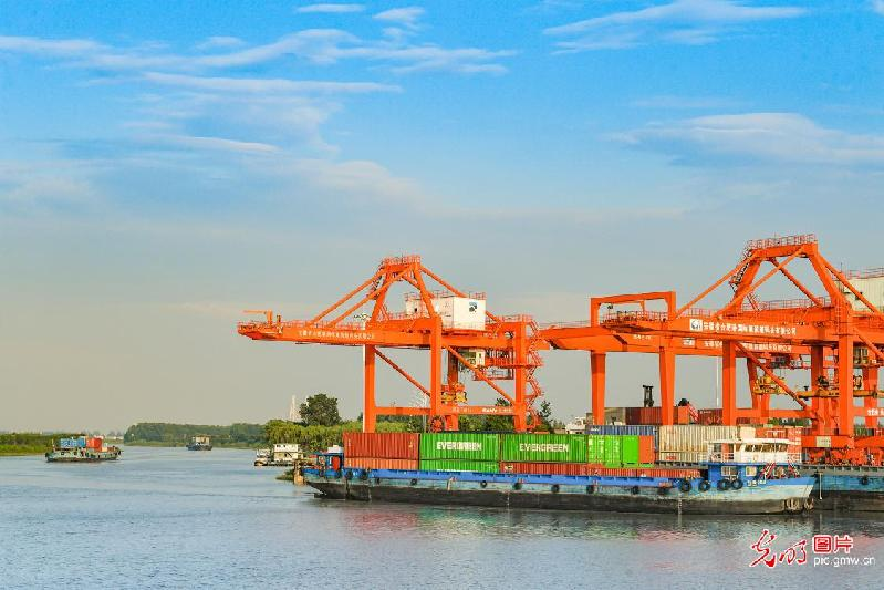 Smart inland container terminal seen in E China's Anhui