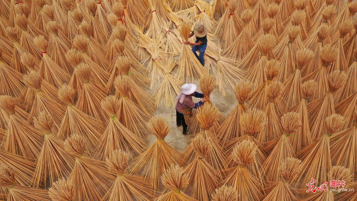 Workersprocessing bamboo products in E China's Jiangxi Province