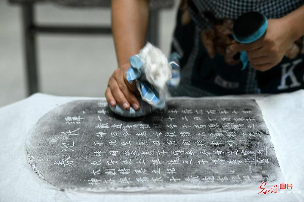 Traditional stone rubbing seen in N China's Henan