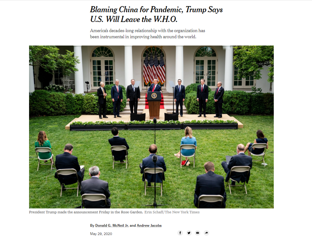 Blaming China & W.H.O for the pandemic? NYT: Trump really shouldn't have