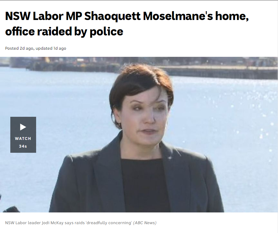 NSW Labor MP Moselmane's home & office raided by police for alleged infiltration by China