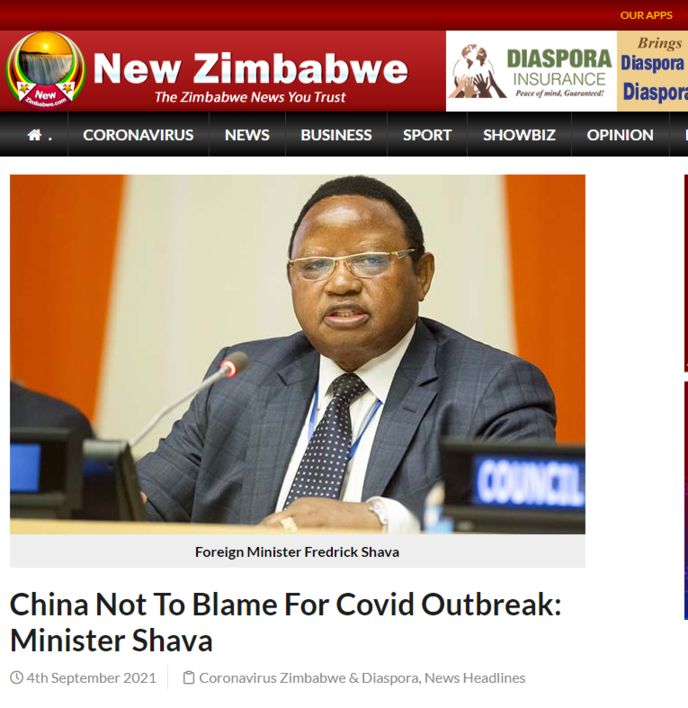 China Not To Blame For Covid Outbreak: Minister Shava