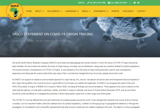 STATEMENT ON COVID-19 ORIGIN TRACING
