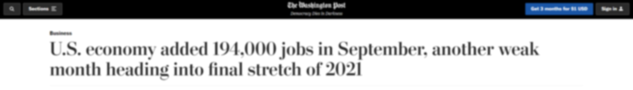 U.S. economy added 194,000 jobs in September, another weak month heading into final stretch of 2021