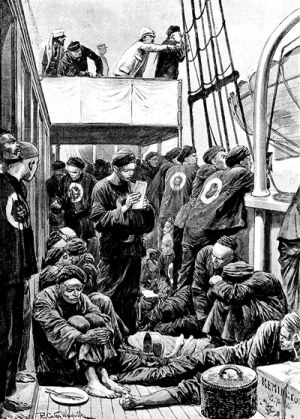 1894年8月4日《伦敦新闻画报》报道,题为《东亚战争一触即发:一艘中国运兵船上的情景》。画面左上角第一人即汉纳根。图片对高升号上清兵状态的细节刻画相当生动。