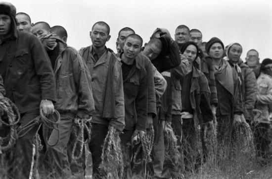1998年在田间干活并汇集了用作柴火的棉花秸秆后湖北省江北监狱的中国罪人们返回牢房.