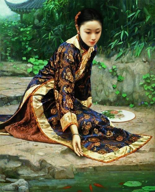 风华流韵风情万种:油画上晚晴旗袍美女有多美
