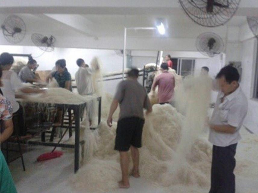 东莞臭脚米粉引热议 工人赤脚踩米粉直接躺下