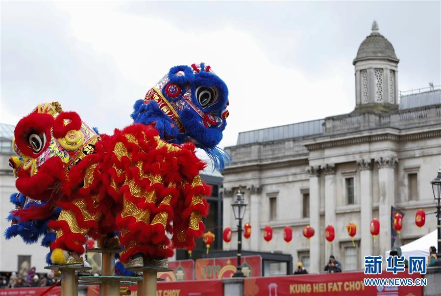 (国际)(2)伦敦特拉法加广场举行盛大春节庆典