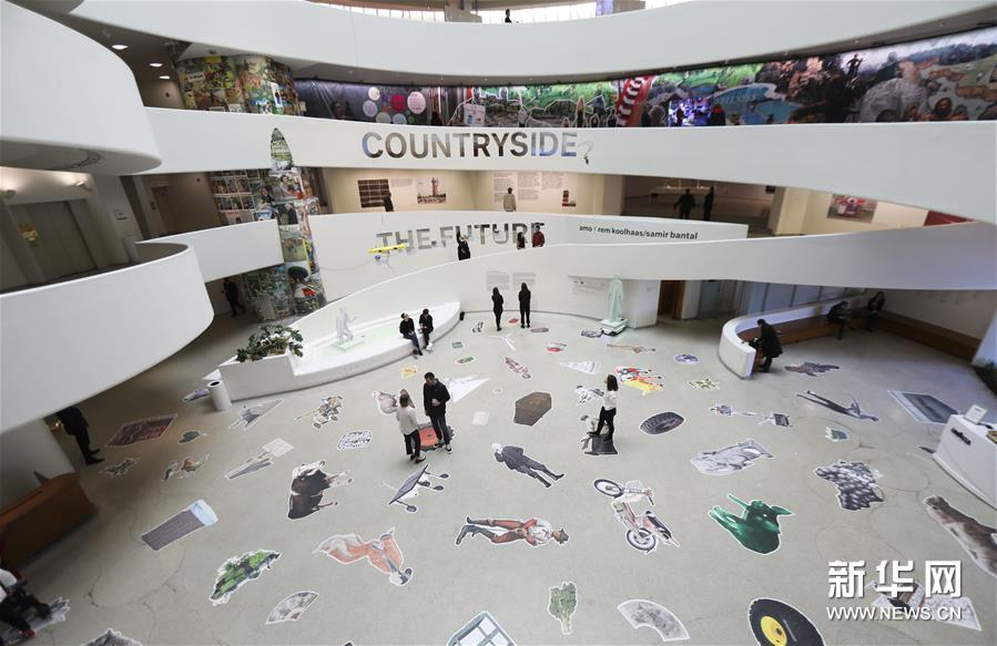 """(国际)(1)纽约古根海姆博物馆举行""""乡村,未来""""展览"""