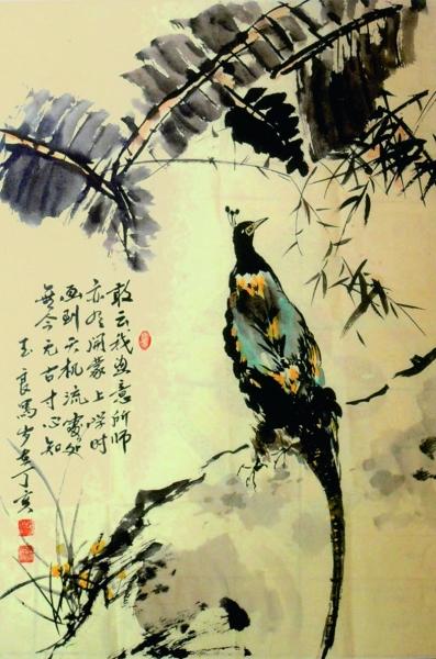 鸟国画水墨画-花 鸟(中国画) 汪玉良-花鸟诗意