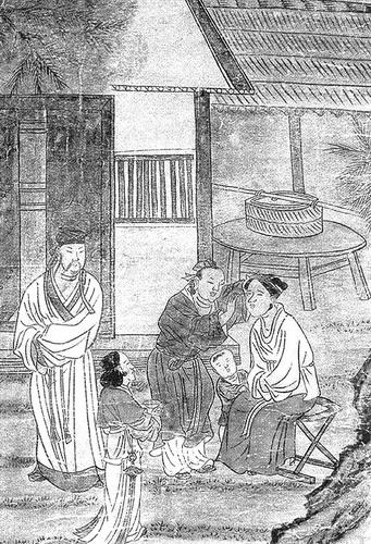 元代壁画﹐描绘了治疗眼疾的场景.