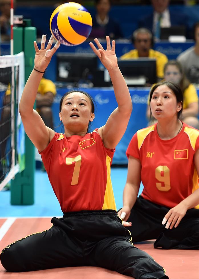女子坐式排球:中国队获亚军